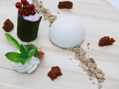 Menú 10 - Esferico de yogur con arandanos y helado de fresa 5