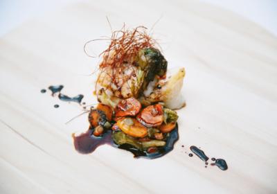 Taco de Rape con Salsa Oriental y Verduritas al Wok